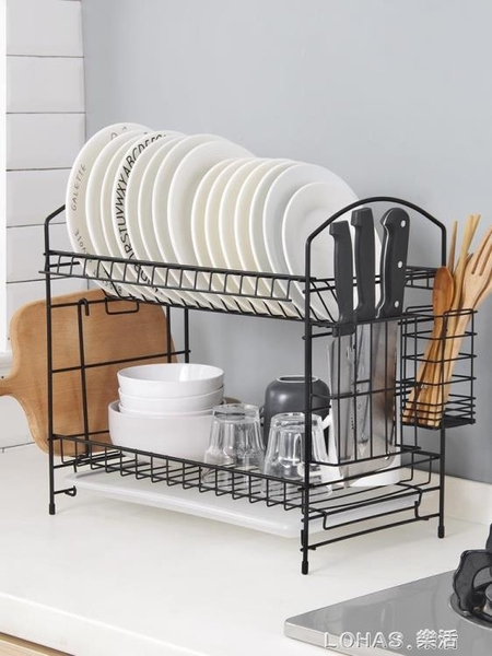 鐵藝雙層碗架家用碗筷瀝水架 可拆卸廚房刀架砧板置物架 樂活生活館