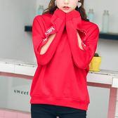 VK  服飾韓系寬鬆 袖口字母破洞長袖上衣