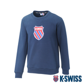 K-SWISS Shield Logo Sweatshirt刷毛圓領上衣-女-藍