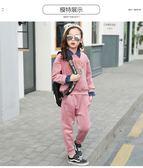 2018女童金絲絨套裝 春秋新款童裝 兒童女孩洋氣套裝 純棉套頭衛衣兩件套 韓版時尚兒童套裝