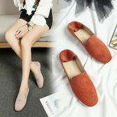春鞋2018新款豆豆鞋女正韓單鞋平底方頭瓢鞋學院英倫風女鞋懶人鞋