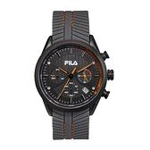 【FILA 斐樂】三眼編織紋錶面設計腕錶-亮眼橘/38-176-002/台灣總代理公司貨享兩年保固