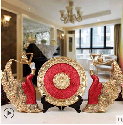 歐式創意樹脂工藝孔雀舞女電視櫃擺件現代家居裝飾品擺設客廳禮品 套裝