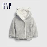 Gap嬰兒 熊耳連帽加絨針織外套 708903-淺灰色