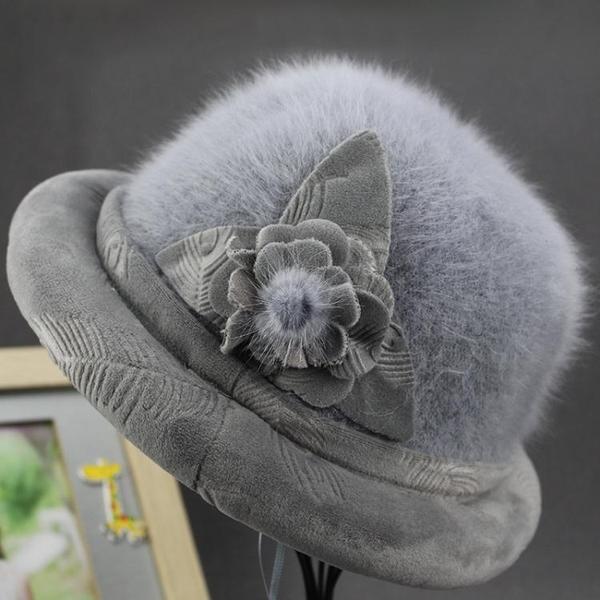 老人帽子女秋冬天保暖盆帽兔毛女帽加絨加厚禮帽中老年奶奶時裝帽 韓國時尚週