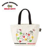 【日本正版】凱蒂貓 x 蠟筆小新 帆布 手提袋 便當袋 午餐袋 Hello Kitty 野原新之助 三麗鷗 - 083628