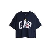 Gap女裝Gap x Snoopy 史努比系列棉質舒適寬鬆短袖T恤567678-深靛藍色