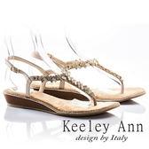 ★2018春夏★Keeley Ann經典美型~異國情懷撞色方鑽後繫帶T字夾腳涼鞋(米色)