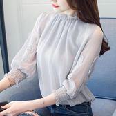 雪紡衫夏季2018新款女潮韓版木耳邊蕾絲衫
