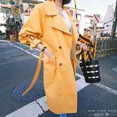 風衣 中長款黃色過膝薄款防曬外套
