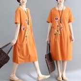 依多多 民族風繡花棉麻連身裙 3色(M~2XL)