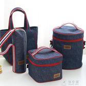 手提包包 飯盒袋保溫袋帶飯的手提袋帆布便當包加厚鋁箔飯盒包圓形帶飯包女 俏女孩