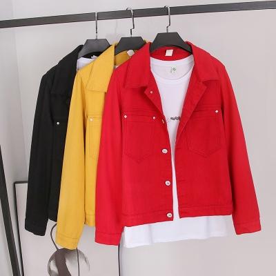 牛仔外套~紅色牛仔外套女學生韓版寬松上衣潮夾克 K8298MC046日韓屋