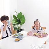 兒童餐具環保兒童餐具套裝分隔餐盤家用早餐盤子寶寶勺筷叉分格盤飯團模具  七色堇