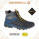 【MERRELL 男 MOAB FST 2 MID GORE-TEX 中筒靴《深灰/深藍》ML48687/透氣/耐磨/防水/登山