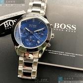BOSS伯斯男錶42mm寶藍色錶面金色錶帶