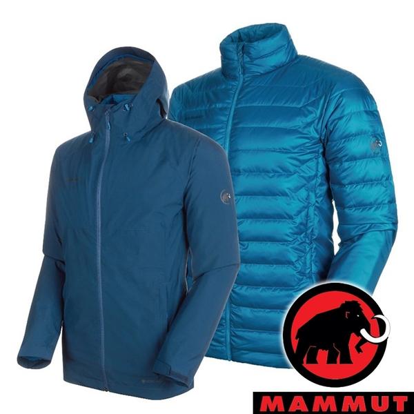 【MAMMUT 長毛象】男 Convey 3男GT兩件式連帽外套『水鴨藍/藍寶石』1010-27410 外套 冬季 保暖 禦寒