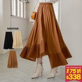 【現貨】冬裝上市MIUSTAR 設計感!不規則下襬鬆緊百褶裙(共3色)【NG002117】預購