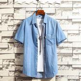 大碼 青少年牛仔外套男士短袖襯衫韓版潮流2019新款夏季薄款上衣服帥氣 js25618『小美日記』