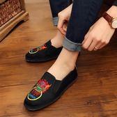 中國風老北京休閒男鞋 刺繡千層底布鞋精神小伙單鞋社會鞋