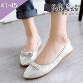 大尺碼女鞋-凱莉密碼-新款簡約蝴蝶結柔軟亮面布尖頭平底鞋蛋捲鞋1cm(41-45)【GLT29】銀色