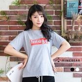 棉T--時尚簡約字母印花寬鬆修身顯瘦開岔百搭圓領短袖T恤(黑.灰XL-3L)-T322眼圈熊中大尺碼
