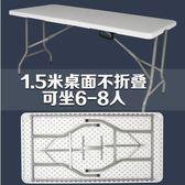 熊孩子❃折疊桌 戶外長桌子 簡易辦公桌 擺攤桌 便攜式會議桌 折疊餐桌椅(主圖款7)