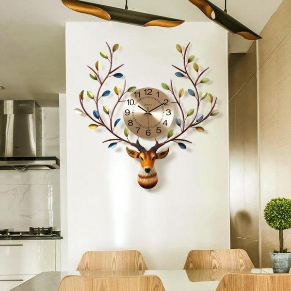 掛鐘 北歐式鹿頭大氣客廳靜音掛錶美式個性簡約時尚鐘家用鐘錶 - 古梵希