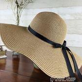 帽子女夏天沙灘帽海邊渡假帽 蝴蝶結飄帶遮陽帽女防曬草帽可折疊color shop