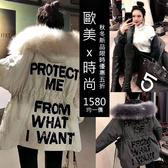克妹Ke-Mei【AT56960】歐洲站重磅厚羊絨內膽背後亮片字母皮草毛毛帽長大衣