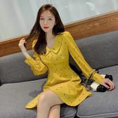 出清388 韓系復古娃娃領顯瘦燈籠袖碎花印花長袖洋裝