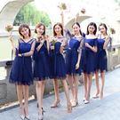 伴娘禮服女韓版姐妹團伴娘服短款灰色顯瘦一字肩連身裙晚禮服【蘇迪蔓】