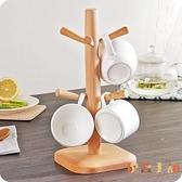 日式櫸木杯架創意放杯子架瀝水架家用收納茶杯架水杯掛架【倪醬小舖】