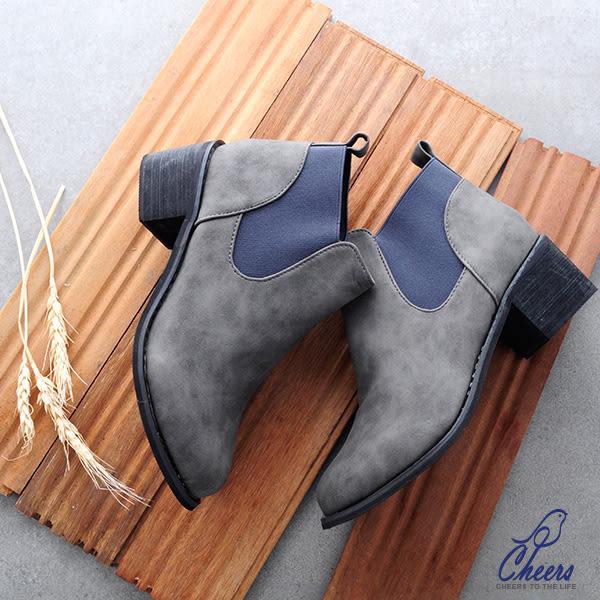 短靴。鵲兒cheers*渲染皮革設計粗跟短靴-現貨 【RS172】