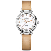 TITONI 梅花錶 炫美時尚之約械錶女錶-珍珠貝x卡其錶帶/33.5mm 23978S-STC-622