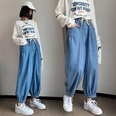 S-6XL大碼牛仔長褲~牛仔褲哈倫束腳褲女寬松高腰加肥加大碼女裝mm230斤696.1F039衣時尚