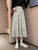碎花裙春秋夏季女裝垂感半身裙2021新款中長款裙子雪紡高腰a字裙 小天使