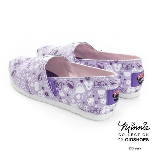 Disney 輕便俏皮~滿版米妮休閒懶人鞋-紫