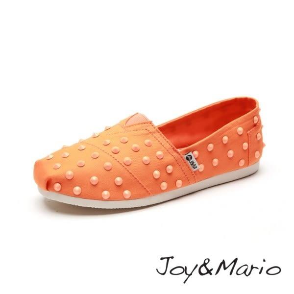【Joy&Mario】個性鉚釘純色平底休閒鞋 - 61395W SAFFRON