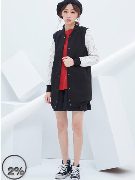 【2%】蕾絲拼接袖長版外套-黑