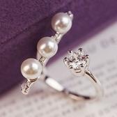 戒指 925純銀 鑲鑽-名媛氣質生日情人節禮物女開口戒73dv19【時尚巴黎】