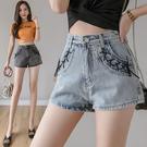 VK精品服飾 韓國風牛仔休閒寬鬆高腰顯瘦薄款寬口單品短褲