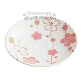 〔小禮堂〕Hello Kitty 日製陶瓷盤子《M.白.櫻花滿版.13.5cm》4973307-31323