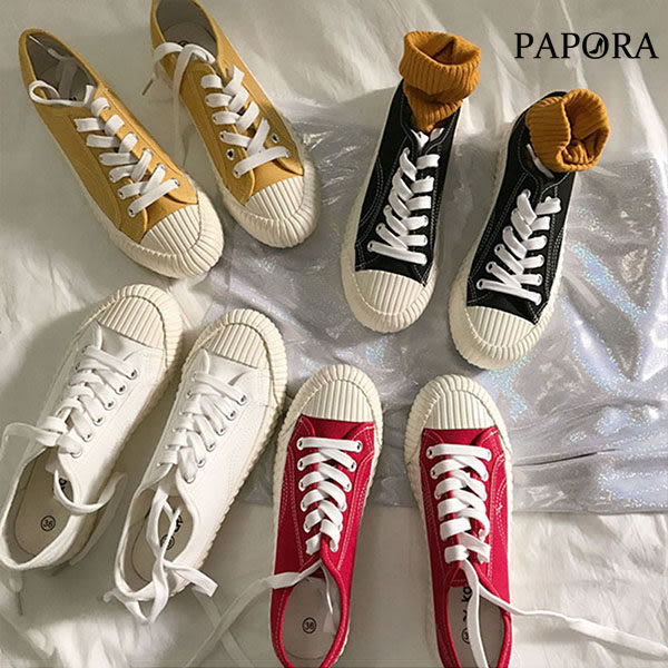 學生白底帆布綁帶平底餅乾鞋【KT-86】黑/白/黃/紅