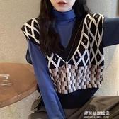 針織馬甲女-V領針織衫秋冬毛衣女秋季新款韓版寬鬆外穿無袖馬甲背心上衣 多麗絲