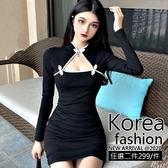 克妹Ke-Mei【AT62536】獨家制定,愛死了!性感摟空美胸改良式旗袍洋裝