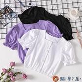 女童短袖T恤泡泡袖短款上衣兒童韓版純棉t半袖夏季【淘夢屋】