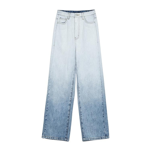 喪喪松本漸變色牛仔褲女bf風2020夏季新款寬松高腰牛仔直筒褲晴天時尚