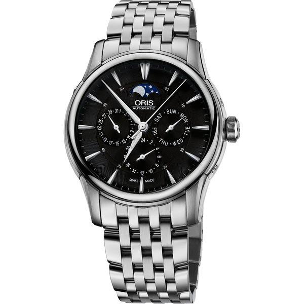 Oris豪利時 Artelier 藝術家月相盈虧機械錶-黑x銀/40.5mm 0178177034054-0782177