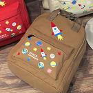 現貨-後背包-多色膠印火箭行星圖案帆布後...